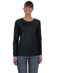 Black Ladies' Heavy Cotton™ 5.3 oz. Long-Sleeve T-Shirt