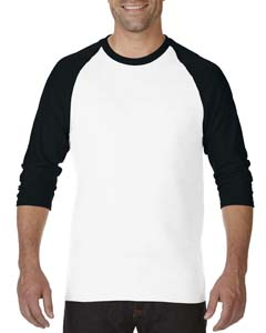 White/black Heavy Cotton ¾-Sleeve Raglan