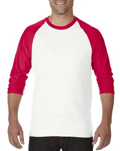 White/red Heavy Cotton ¾-Sleeve Raglan