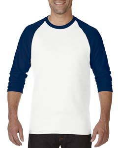 White/navy Heavy Cotton ¾-Sleeve Raglan