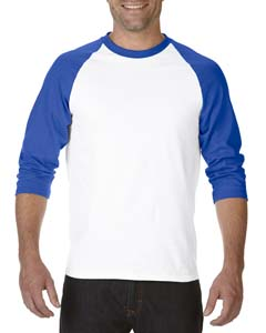 White/royal Heavy Cotton ¾-Sleeve Raglan
