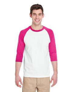 White/ Heliconia Adult Heavy Cotton™ 5.3 oz. ¾-Sleeve Raglan T-Shirt