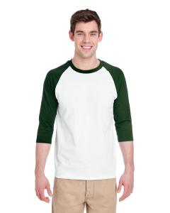 White/ Forest Adult Heavy Cotton™ 5.3 oz. ¾-Sleeve Raglan T-Shirt