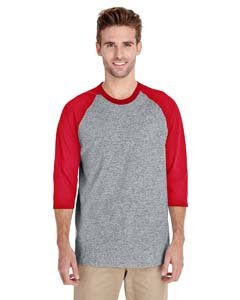 Sport Grey/red Heavy Cotton ¾-Sleeve Raglan