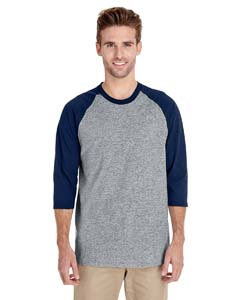 Sport Grey/navy Heavy Cotton ¾-Sleeve Raglan