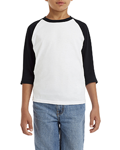 White/ Black Youth 5.3 oz. 3/4-Raglan Sleeve T-Shirt