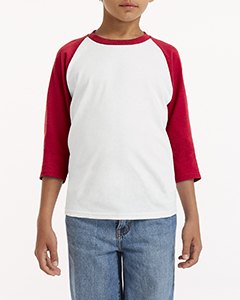 White/ Red Youth 5.3 oz. 3/4-Raglan Sleeve T-Shirt