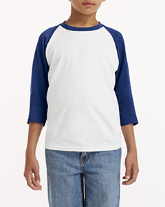 White/ Navy Youth 5.3 oz. 3/4-Raglan Sleeve T-Shirt