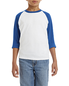 White/ Royal Youth 5.3 oz. 3/4-Raglan Sleeve T-Shirt