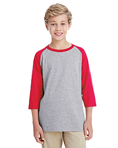 Sport Grey/ Red Youth 5.3 oz. 3/4-Raglan Sleeve T-Shirt