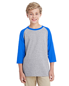 Sport Gry/ Royal Youth 5.3 oz. 3/4-Raglan Sleeve T-Shirt