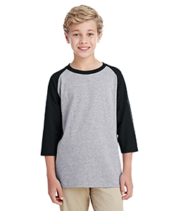 Sport Grey/ Blk Youth 5.3 oz. 3/4-Raglan Sleeve T-Shirt