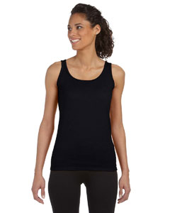 Black Women's 4.5 oz. SoftStyle® Junior Fit Tank Top