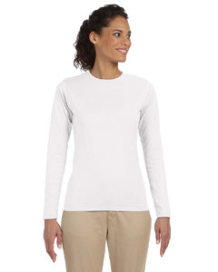 White Women's 4.5 oz. SoftStyle Junior Fit Long-Sleeve T-Shirt