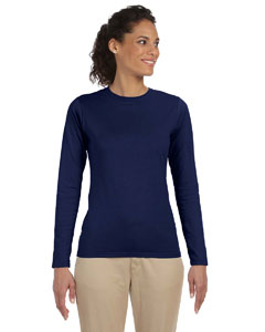 Navy Women's 4.5 oz. SoftStyle Junior Fit Long-Sleeve T-Shirt