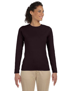 Dark Chocolate Women's 4.5 oz. SoftStyle Junior Fit Long-Sleeve T-Shirt