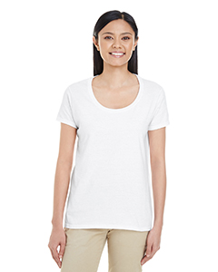 White Ladies' Softstyle®  4.5 oz. Deep Scoop T-Shirt