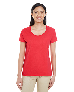 Red Ladies' Softstyle®  4.5 oz. Deep Scoop T-Shirt