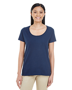 Navy Ladies' Softstyle®  4.5 oz. Deep Scoop T-Shirt