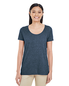 Heather Navy Ladies' Softstyle®  4.5 oz. Deep Scoop T-Shirt