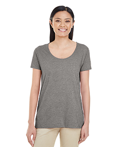 Graphite Heather Ladies' Softstyle®  4.5 oz. Deep Scoop T-Shirt