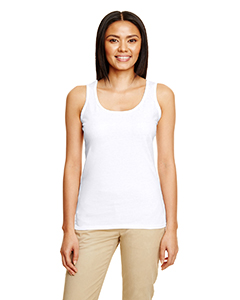 White Ladies' Softstyle®  4.5 oz Racerback Tank