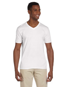 White Adult Softstyle® 4.5 oz. V-Neck T-Shirt