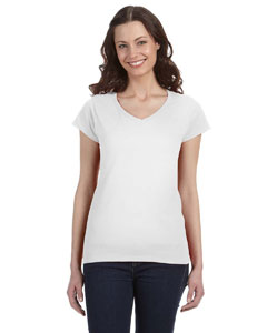 White Ladies' SoftStyle® 4.5 oz. Fitted V-Neck T-Shirt