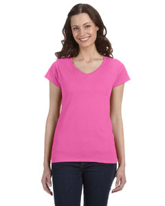 Azalea Ladies' SoftStyle® 4.5 oz. Fitted V-Neck T-Shirt