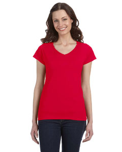 Cherry Red Women's 4.5 oz. SoftStyle® Junior Fit V-Neck T-Shirt