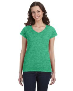 Hthr Irish Green Ladies' SoftStyle® 4.5 oz. Fitted V-Neck T-Shirt