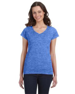 Heather Royal Ladies' SoftStyle® 4.5 oz. Fitted V-Neck T-Shirt