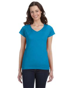 Sapphire Ladies' SoftStyle® 4.5 oz. Fitted V-Neck T-Shirt