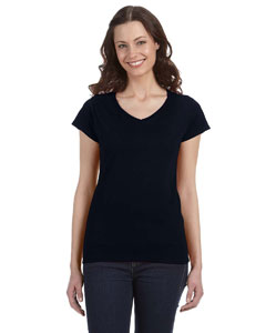 Black Women's 4.5 oz. SoftStyle® Junior Fit V-Neck T-Shirt