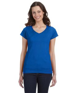 Royal Blue Ladies' SoftStyle® 4.5 oz. Fitted V-Neck T-Shirt