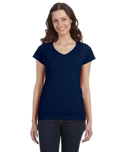 Navy Women's 4.5 oz. SoftStyle® Junior Fit V-Neck T-Shirt