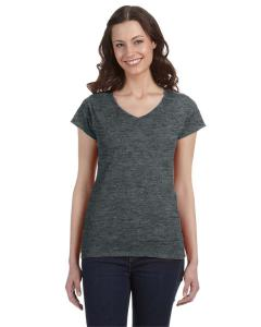 Dark Heather Ladies' SoftStyle® 4.5 oz. Fitted V-Neck T-Shirt