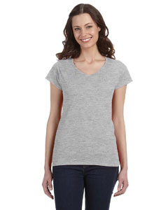 Sport Grey Women's 4.5 oz. SoftStyle® Junior Fit V-Neck T-Shirt