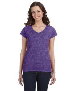 Heather Purple Ladies' SoftStyle® 4.5 oz. Fitted V-Neck T-Shirt