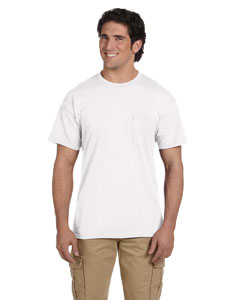 White DryBlend™ 5.6 oz., 50/50 Pocket T-Shirt