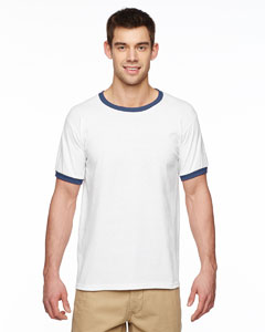 White/navy DryBlend® 5.6 oz. Ringer T-Shirt