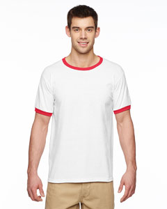 White/red Adult 5.5 oz. Ringer T-Shirt