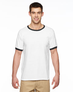 White/black Adult 5.5 oz. Ringer T-Shirt