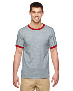 Sport Grey/red DryBlend® 5.6 oz. Ringer T-Shirt