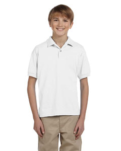 White Youth Unisex 6 oz. 50/50 Jersey Polo