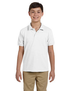 White DryBlend™ Youth 6.5 oz. Piqué Sport Shirt