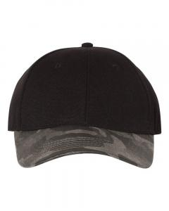 Black Canvas Crown Cap with Weathered Camo Visor