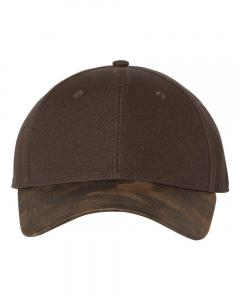 Brown Canvas Crown Cap with Weathered Camo Visor