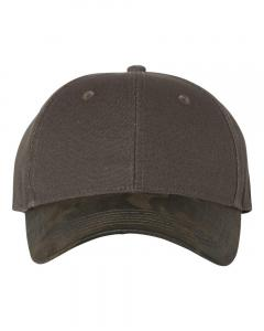 Olive Canvas Crown Cap with Weathered Camo Visor