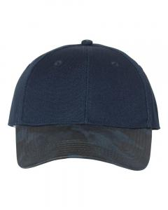 Navy Canvas Crown Cap with Weathered Camo Visor